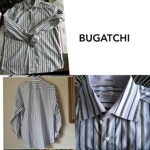 BUGATCHI  UOMO SHAPED FIT  LONG SLEEVE MENS SZ L